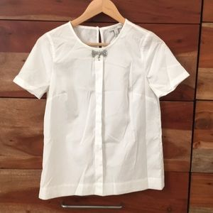 J.crew short sleeve sequin bow top size2